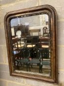 A 19th century French painted parcel gilt wall mirror, width 54cm, height 72cm