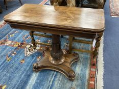A Victorian rosewood folding card table, width 90cm, depth 45cm, height 75cm