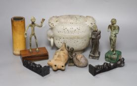 A Chinese jade censer and cover and various sculptures