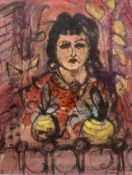 Modern British, mixed media, Portrait of a lady at a window, monogrammed 'C.R.' and dated 1955, 42 x