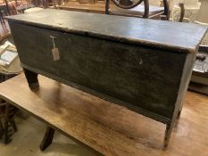 An 18th century stained pine six plank coffer, length 116cm, depth 38cm, height 58cm