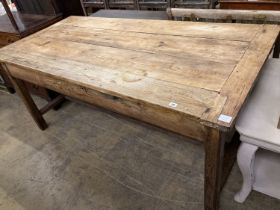 An early 19th century ash and pine rectangular kitchen table, width 186cm, depth 90cm, height 82cm