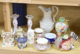 A group of mixed ceramics including a Copeland flower-painted vase, a Staffordshire 'hen and