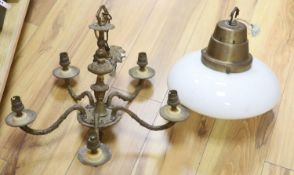 An Art Deco brass and opaline pendant light and a gilt five branch Victorian style chandelier (2)