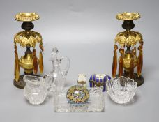 A group of mixed collectables to include a pair of 19th century table lustres, two porcelain scent