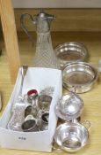 A group of mixed plated wares including a pair of wine coasters, 15.5cm, napkin rings, flatware,