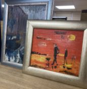 After Isherwood, two oils on panels, Figures on the beach and Canal scene, bears signatures and