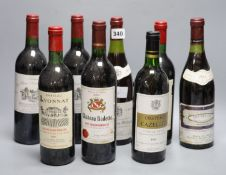 Eight assorted wines including Saint Emilion
