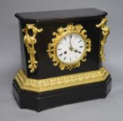 A late 19th century French ebonised and ormolu mounted mantel clock, height 33cm