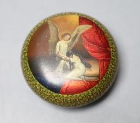 A Russian lacquer papier mache small box and cover, by Lukutin, late 19th century, diameter 6cm