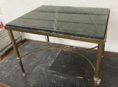 A Maison Janson style rectangular brass and marble top occasional table, width 62cm, depth 47cm,