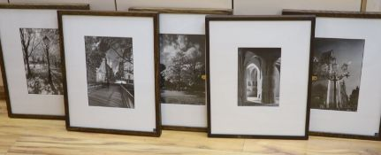 Herve Dufoort, five black and white photographs, City views, Parkland and Mosque, largest 31 x 21cm