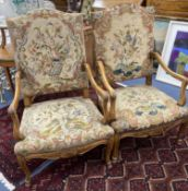 A pair of Louis XV style needlepoint armchairs, width 69cm, depth 60cm, height 110cm