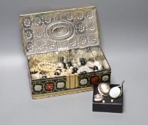 A silver locket, silver chains, a cameo brooch and a group of assorted costume jewellery.