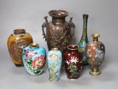 Seven Japanese vases including one bronze, five cloisonne enamel and a patinated bronze bottle vase,
