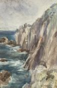 Sidney James Beer (1875-1952), watercolour, Sea cliffs, signed, 26.5 x 18cm signed, 10.5 x 7 ins.