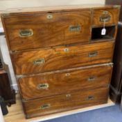 A 19th century brass mounted teak two part military chest (lacking one drawer) width 97cm, depth