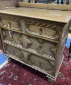 An early 20th century Jacobean style oak four drawer chest, width 81cm, depth 46cm, height 76cm