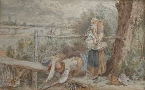 After Birket Foster, watercolour, 'The little anglers', bears monogram, 14 x 21cm