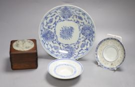 A Chinese jade and wooden box and three pieces of blue and white porcelain, largest diameter 20cm
