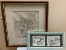 Basil Nubel (1923-1981), two pencil drawings, Masquefa and Monserrat, Spain, signed and dated