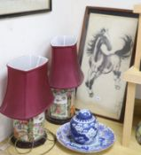 A pair of Chinese famille rose table lamps, 35cm high to lamp fitting, a blue and white jar and