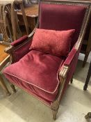 A pair of Louis XVI style upholstered mahogany armchairs, width 64cm, depth 70cm, height 93cm