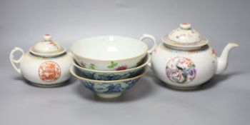 A Chinese famille rose teapot and sucrier, a 19th century Chinese bowl and a pair of blue and