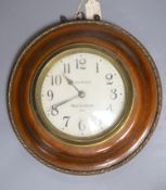 A Paul Garnier electrique mahogany wall slave clock, diameter 29cm