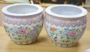 A pair of Chinese famille rose jardinieres, diameter 41cm