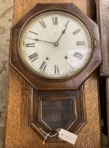 A Victorian mahogany eight day drop dial wall clock, with octagonal dial, height 60cm