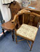 A Victorian mahogany hall chair and an Edwardian mahogany corner elbow chair