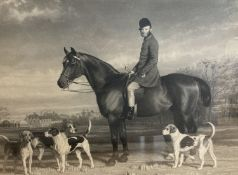 A Victorian maple framed engraving of a huntsman and hounds, 68 x 86cm
