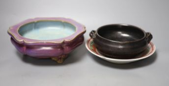 A Chinese Henan style censer, a Jun type censer censers and a polychrome dish, longest 22cm