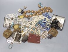 Mixed costume jewellery, including micro mosaic bracelets, paste set buckles, paste set brooch,