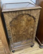 A Queen Anne revival walnut side cabinet, width 51cm, depth 42cm, height 93cm
