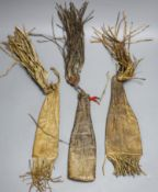 Three animal hide pouches, possibly Mongolian