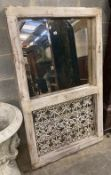 A French metal grill, painted wood wall mirror, width 91cm, height 152cm