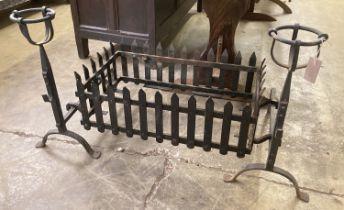 A rectangular wrought iron fire basket, width 114cm, depth 56cm, height 62cm and dogs