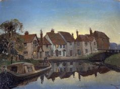 Reginald Mills (Exh.1921-38), oil on panel, Canal boat and cottages at dawn, signed, 21.5 x 30cm,