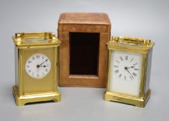 Two French gilt brass carriage timepieces, one cased