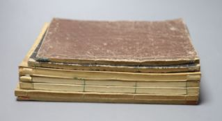 Seven Japanese colour woodblock illustrated books, 19/20th century, including after Hokusai