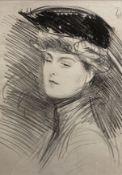 Paul César Helleu (1859-1927), lithograph, Portrait of an Edwardian lady, 41 x 30cm, unframed