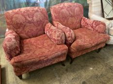 A pair of late Victorian style upholstered lounge armchairs, width 88cm, depth 98cm, height 83cm