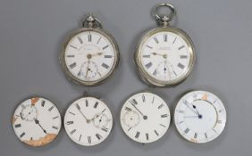Two early 20th century silver or white metal pocket watches and four assorted pocket watch