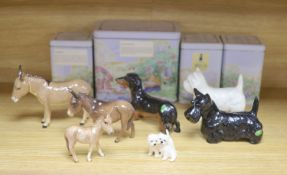 Three Beswick donkeys and four dogs, and four Tales of Honeysuckle Hill figures, tallest 13cm