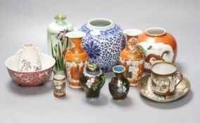 A group of Chinese and Japanese ceramics and three cloisonne enamel vases