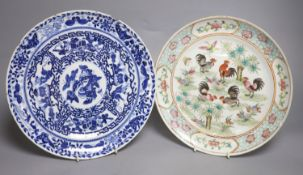 A Chinese famille rose dish and a blue and white dish, largest diameter 26cm