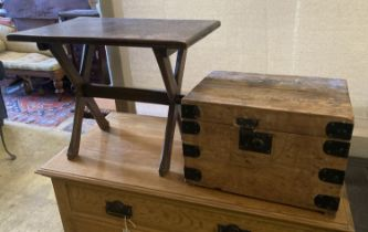A rectangular oak X frame occasional table, width 61cm, depth 39cm, height 49cm together with a