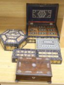 Four Ceylonese quillwork boxes, early 20th century, largest 28 x 19 x 10cm, an Indian inlaid box a